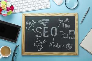 seo zoekmachineoptimalisatie op een bord foto