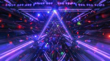 ruimtetunnel met gloeiende deeltjes 3d illustratie beweging ontwerp achtergrond behang ontwerp kunstwerk foto
