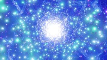 blauw helder gloeiend sci-fi ruimtedeeltje melkweg 3d illustratie achtergrond behang ontwerp kunstwerk foto