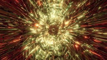 gouden abstracte tunnel met gloeiende neon 3d illustratie ontwerp kunstwerk achtergrondbehang foto
