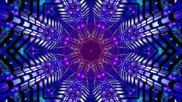 knipperende stervormige blauwe en roze tunnel 3d illustratie achtergrond behang ontwerp kunstwerk foto
