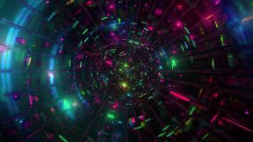 koel glas tunnel gloeiende ruimte deeltjes 3d illustratie achtergrond behang ontwerp kunstwerk foto