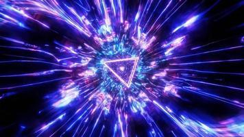 coole roterende driehoek draadframe tunnel 3d illustratie achtergrond behang ontwerp kunstwerk foto