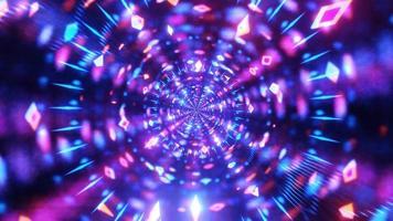 gloeiende neon lijnen reflectie tunnel 3d illustratie achtergrond behang ontwerp kunstwerk foto