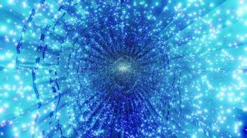 blauwe deeltjes ster magische tunnel 3d illustratie achtergrond behang ontwerp kunstwerk foto