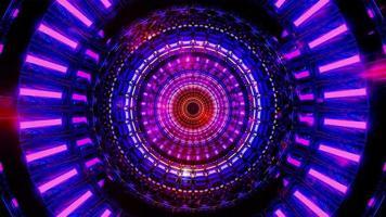 roterend blauw ruimteontwerp met gloeiende neondeeltjes 3d illustratie achtergrondbehangontwerpkunstwerk foto