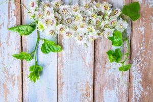 witte bloemen op tafel foto