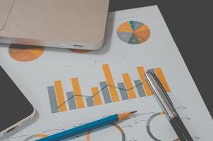 zakelijke grafiek op een bureau
