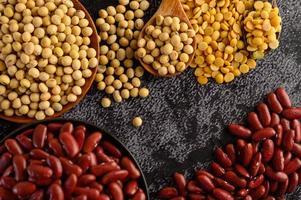 peulvruchten en bonen assorti op een zwarte cement oppervlak foto