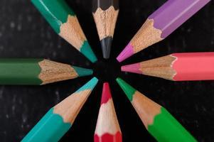 close-up van houten kleurpotloden gerangschikt in een kleurenwiel