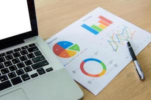 balpen en grafieken op een bureau