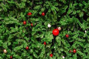 kerstboom met rode versieringen foto
