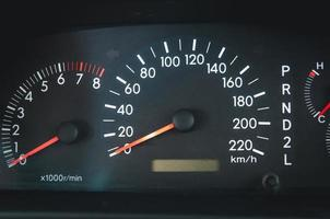 close up van een auto snelheidsmeter
