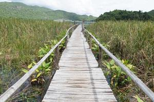 houten loopbrug in Thailand foto