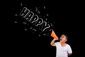 riep de jongen luid het woord blij op het bord