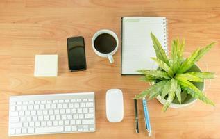 plat bureau met plant, koffie en telefoon