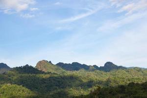 met bos bedekte bergen in Thailand foto
