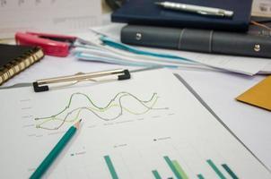 rommelig bureau met grafiek op een klembord