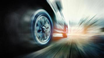 snel rijdende auto op de weg foto