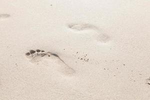 voetafdrukken in het zand op het strand foto