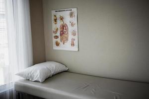 afbeelding van het bed van de patiënt en diagnostische apparatuur op de afdeling spoedeisende hulp van het ziekenhuis. foto