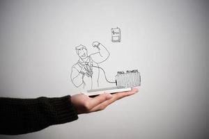 zakenvrouw met telefoon met zakelijke doodle pictogram foto