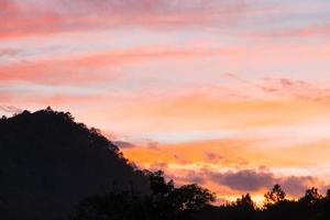 bos en berg bij zonsondergang foto