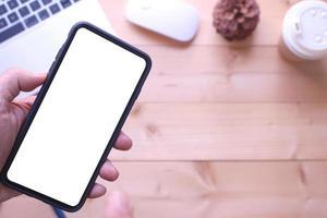 smartphone mock-up met bureau foto