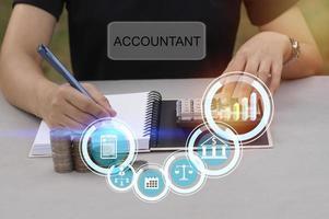 accountant figuur schrijven in een notitieblok