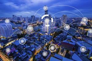 netwerkverbindingstechnologie concept foto