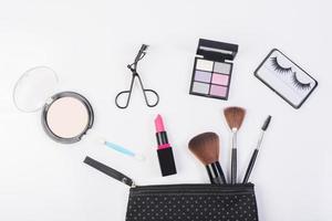 bovenaanzicht van een make-up tas foto