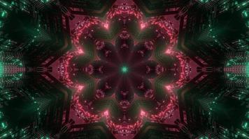 groene, rode, roze en witte lichten en vormen caleidoscoop 3d illustratie voor achtergrond of behang