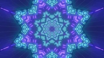 blauwe en paarse vormen en ontwerp caleidoscoop 3d illustratie voor achtergrond of behang foto