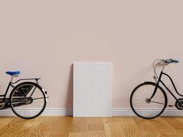 mock-up poster in roze kamer met fietsen, foto