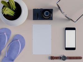 3D-weergave van mock up op tafel met blocnote en slimme telefoon foto