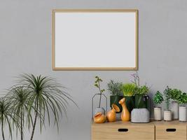 mock up poster interieur woonkamer met planten