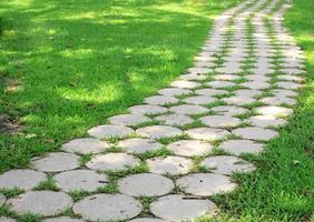 stenen loopbrug op gras in een park