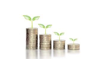 plantengroei op een vallende stapel munten op witte achtergrond, een financieel idee in een economische neergang foto