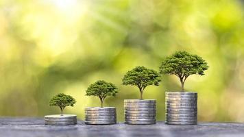 de boom groeit op een stapel munten en houten vloeren en een wazige groene natuurachtergrond. financiële groei concept foto