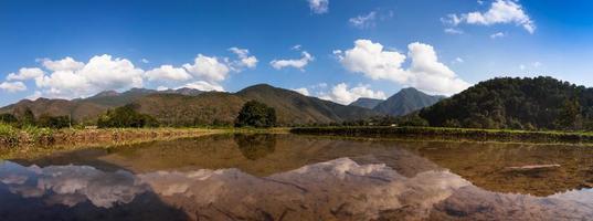 weerspiegeling van bergen in water gedurende de dag foto