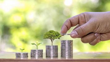een boom planten op een stapel geld, inclusief de hand van een vrouw die een munt vasthoudt aan een boom op de munt, geldbesparende ideeën en investeren in de toekomst