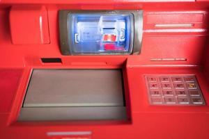 close-up van een geldautomaat foto