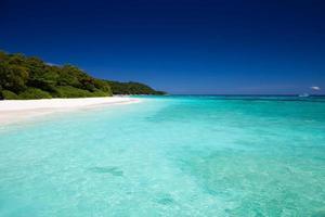 tropisch strand met blauw water