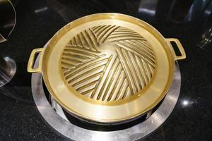 nieuwe bbq messing pan