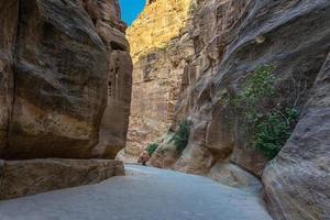 al siq kloof in de oude stad petra, jordanië