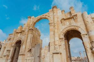 zuidelijke poort van de oude Romeinse stad Gerasa, Jordanië foto