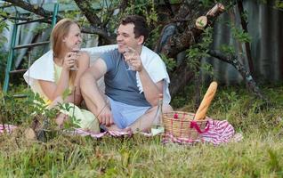 jong stel genieten van een picknick foto