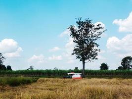 maaidorser in een veld met bewolkte blauwe hemel