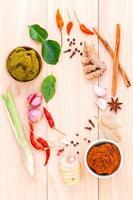 bovenaanzicht van Thaise ingrediënten foto