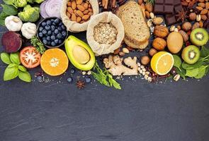 gezond voedsel met exemplaarruimte foto